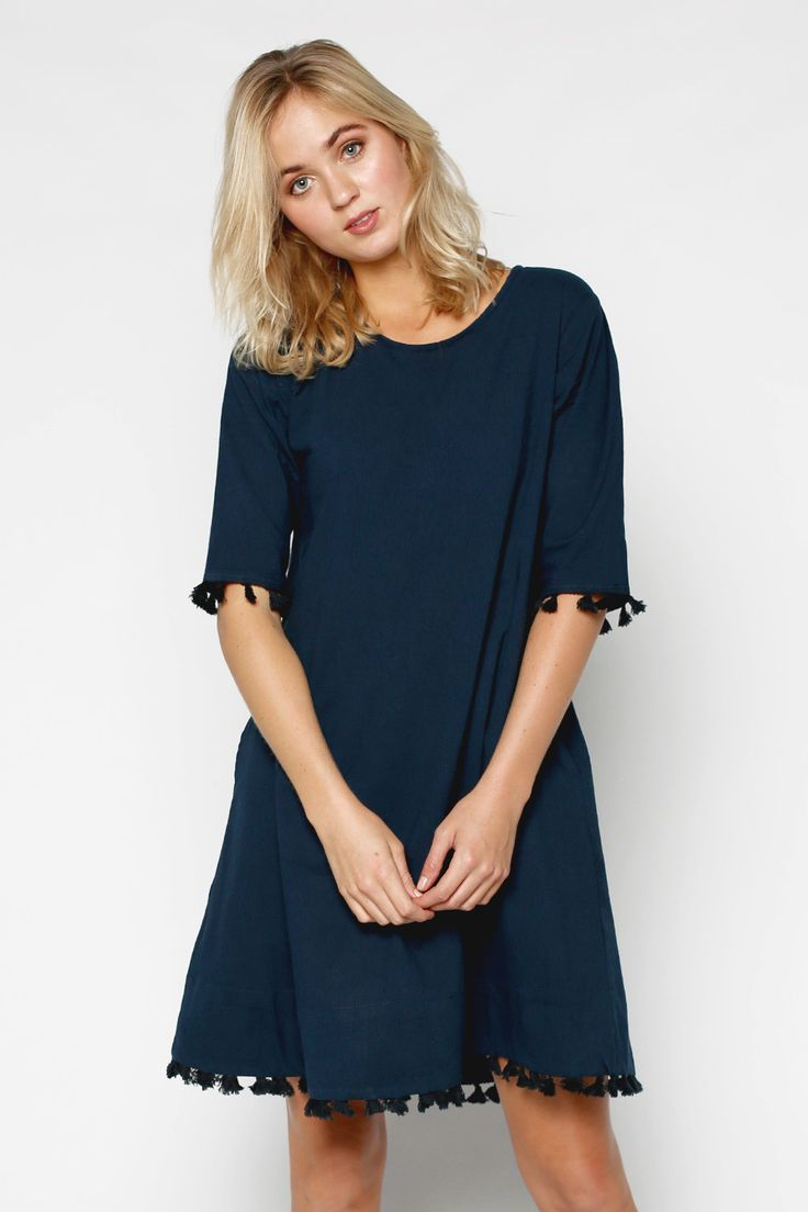 Zoe Dress in Navy Black Tassel – Adrift Clothing