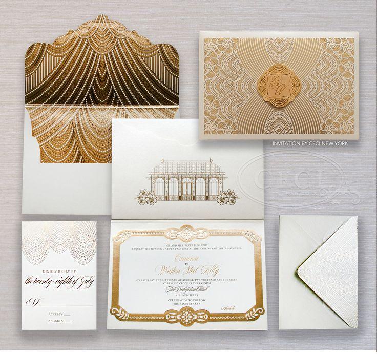 Luxury Wedding Invitations by Ceci New York -Glamorous Wedding in Texas: Cameron and Winston, Part 1 - Be inspired by Cameron and Winston's glamorous wedding in Texas.  - #customweddinginvitations #luxuryweddinginvitations #couture #racquetclub #texas #glamour #gold #cecinewyork
