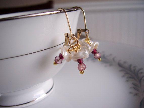 Keshi pearl rhodolite garnet and pink quartz gold by starrydreams
