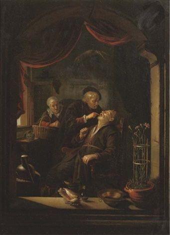 Naar Gerard Dou: de tandarts. Tweede helft 17e eeuw. Fischer, Galerie, Luzern. Kopie naar het origineel uit  ca. 1650-1665. In de Bayerische Staatsgemaeldesammlungen berust ook nog een kopie.