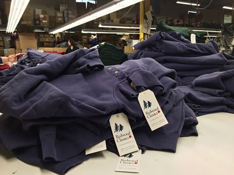 Our 20 oz./100% cotton/premium fleece Ruck Top Polo ready for pre-ship hand inspection. #madeInCanada #redwoodclassics #factoryfriday