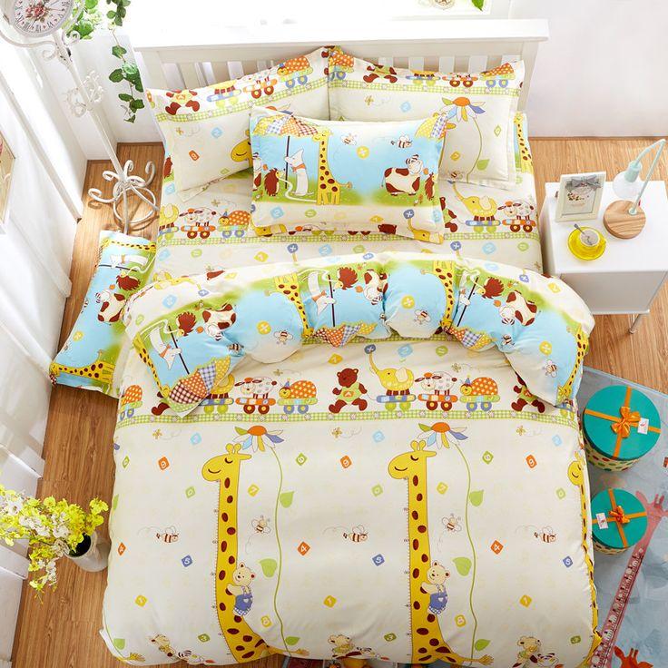 kids like cartoon cotton giraffe printed bedding sets super king size bed sheet duvet cover set