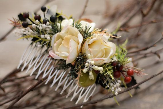 Winter flower hair comb floral hair comb by EvaFlowersDesigns