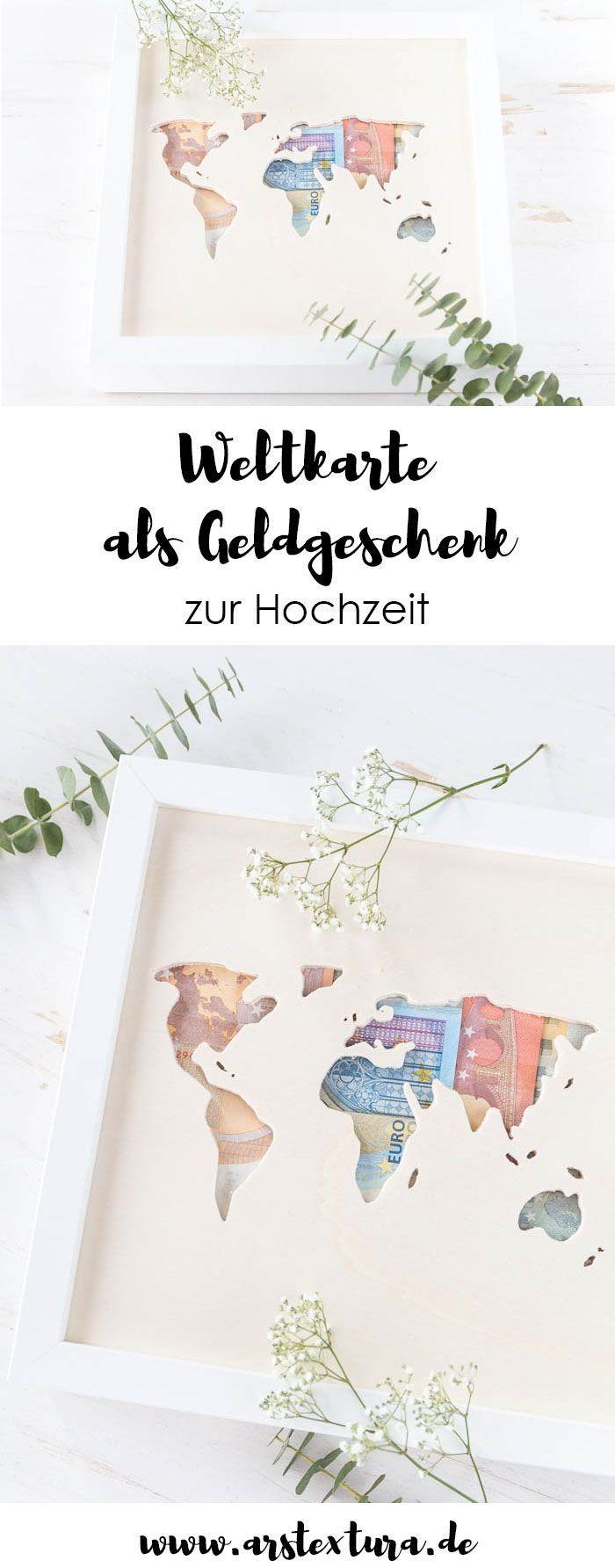 Geldgeschenk zur Hochzeit – Weltkarte aus Holz mit Geld – Schmuck Blog DIY's