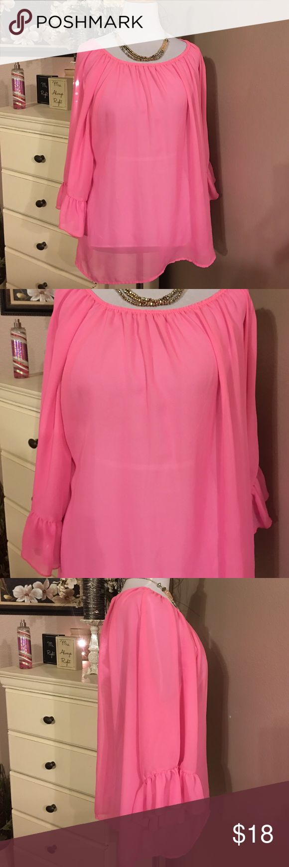 Giddy up Glamour Sheer Top Pink Giddy up Glamour sheer top. Very pretty. Soft flowing fabric. Like new condition size XL pre-owned. Worn once. giddy up glamour Tops Blouses