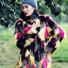 Дизайнер 2016 женщины зима высокие взлетно-посадочной полосы цвета радуги длинный лисий мех дамы тепловой партийной работе меховая шуба и пиджаки 8579(China (Mainland))