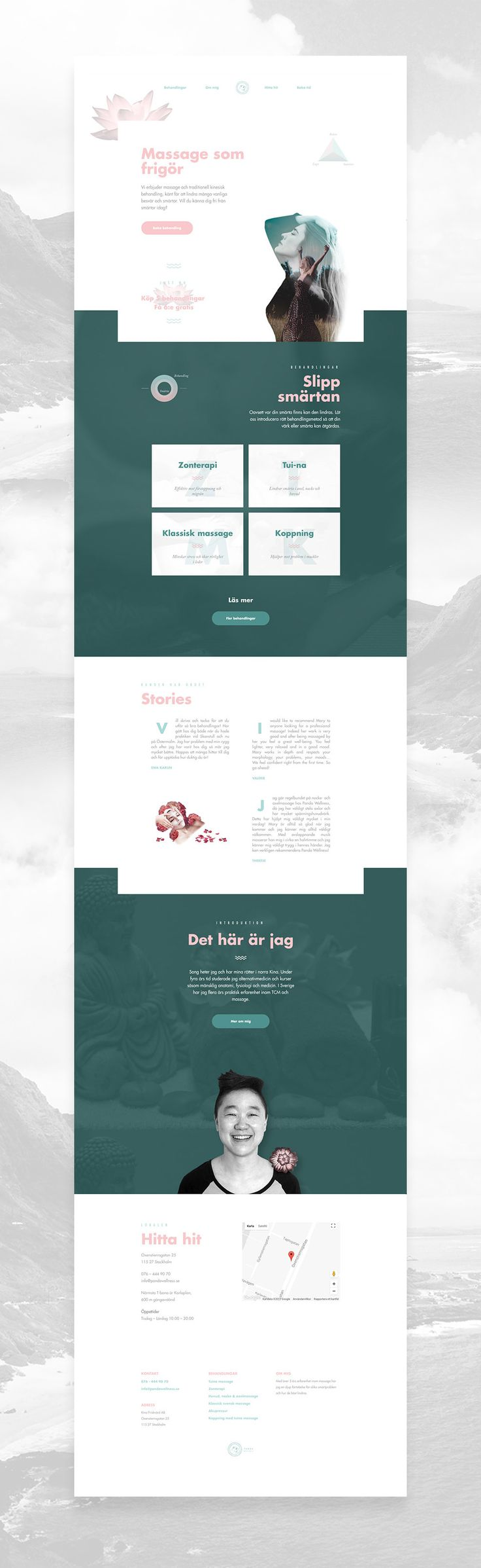 Professional massage salon website design. Focusing on wellness and a relaxing experience.