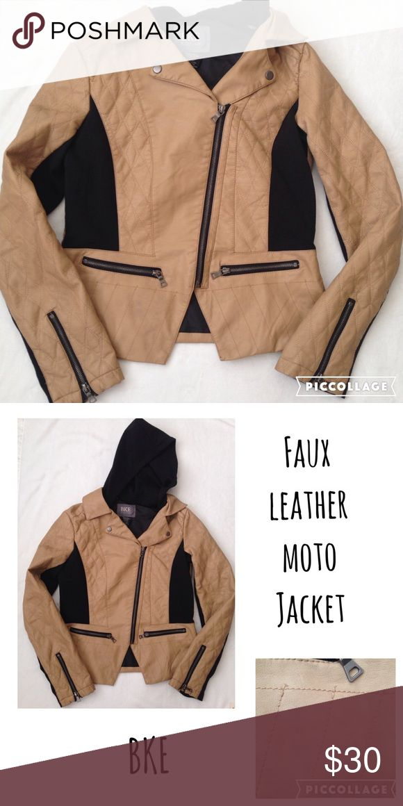 🎀BKE FAUX LEATHER COLOR BLOCK MOTO JACKET🎀 In excellent condition, only worn couples time. Very soft material. Have a hoodie. Zipper on the side and on the front too. It have small spots (see pictures) but you barely can see them. Make an offer. Black and light pink color. BKE Jackets & Coats