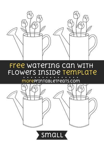 free watering can with flowers inside template small shapes and