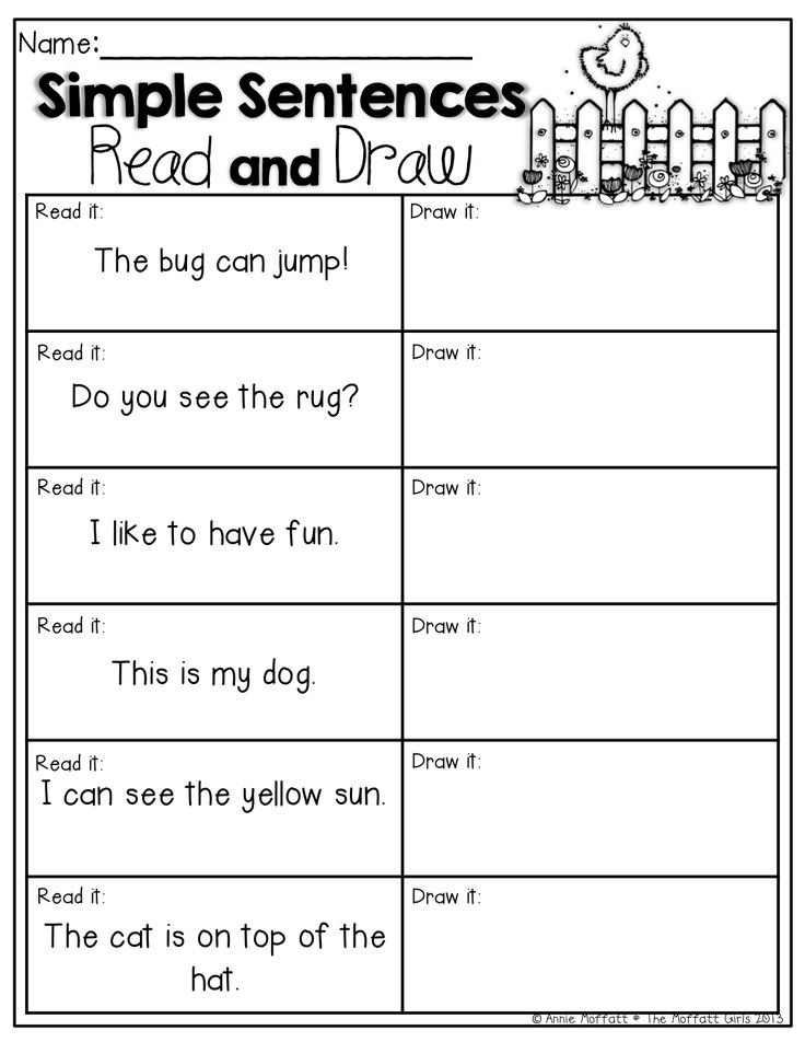 Simple Sentences (Read and Draw) Read the simple sentences and draw a picture to match.