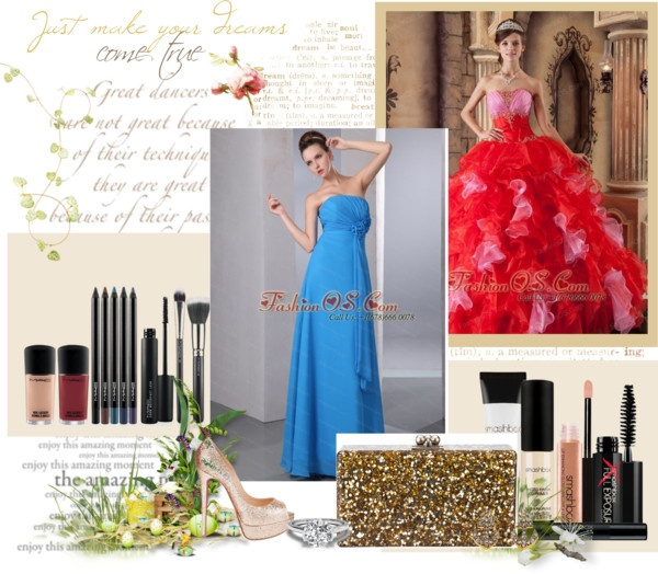 """""""The Most Popular Red Quinceanera Dress Strapless Organza Beading and Ruffles Ball Gown"""" by quinceaneradress ❤ liked on Polyvore"""