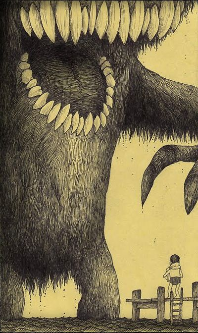 John Kenn - Illustration on Post-It - Monster