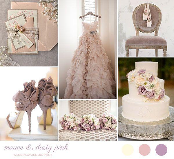 Un'inspiration board per un matrimonio romantico e retrò nei toni del malva e del rosa antico, con un tocco di crema.