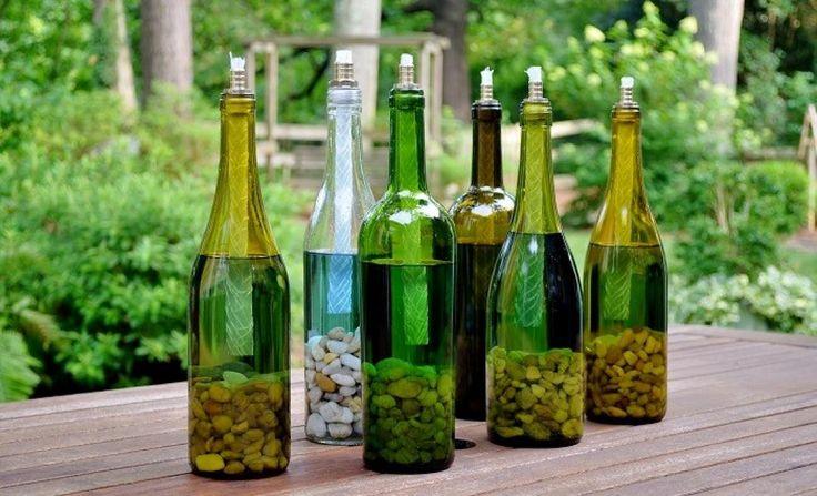 Zo maak je wijnfles fakkels!
