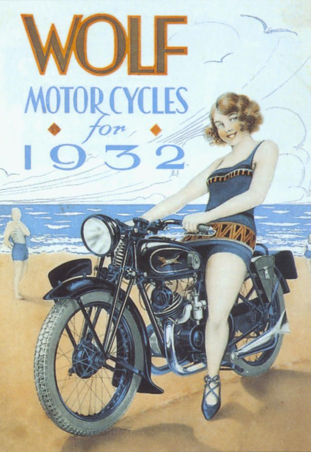 Wolf 1939 1930s Uk Motorbikes Advertising Poster And