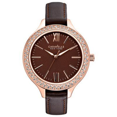 Caravelle New York - Ladies Brown Leather Strap Carla Watch - 44L124 - RRP: £75.00 - Online Price: £63.00
