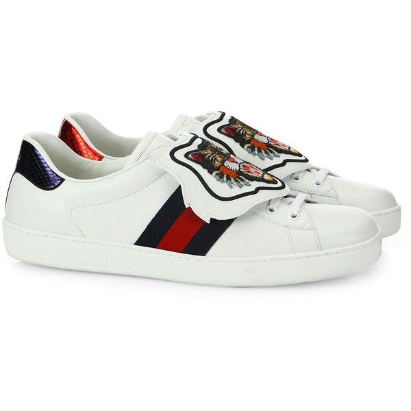 Gucci New Ace Snap Angry Cat Leather Sneakers ($790) ❤ liked on Polyvore featuring men's fashion, men's shoes, men's sneakers, mens leather lace up shoes, mens leather shoes, cat mens shoes, mens rubber sole shoes and gucci mens sneakers