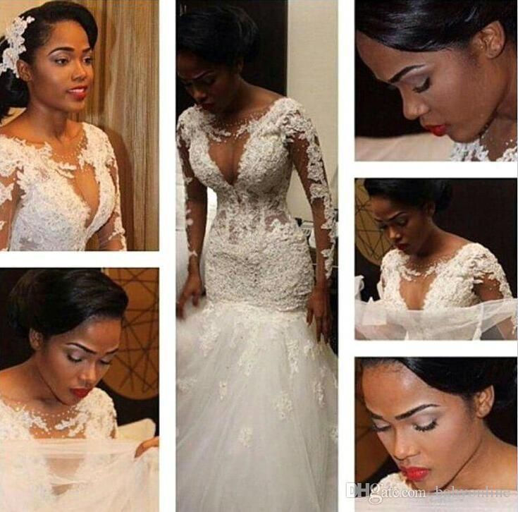 2016 Sexy Long Sleeves Lace Mermaid Wedding Dresses South African Traditional Plus Size Crew Sheer Neck Deep Gap Bridal Gowns Sexy Bo9394 Halter Neck Wedding Dresses Halter Top Wedding Dresses From Cinderelladress, $155.16| Dhgate.Com