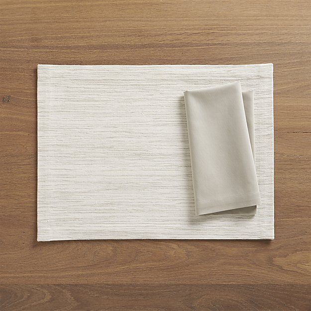 Grasscloth White Placemat and Fete Dove Cloth Napkin | Crate and Barrel