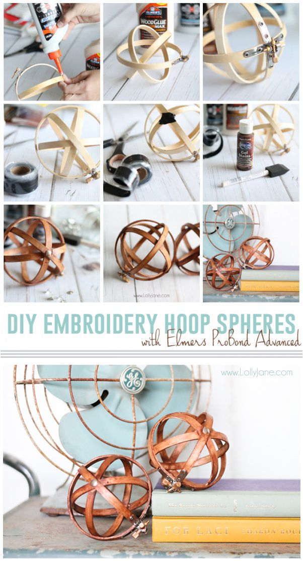 DIY Embroidery Hoop Spheres. Beautiful and rustic home decor made easy with this simple project tutorial.