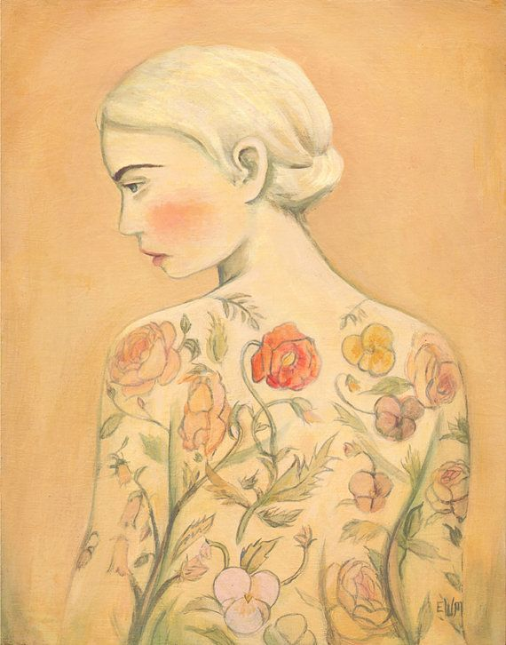 Tattooed Lady Flora 8x10 print by theblackapple on Etsy