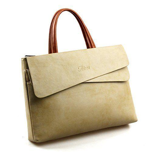 Leather Laptop Bag, Aises Fashion 14 inch Laptop Case Leather Notebook Computer Bag Business Handbag for Women