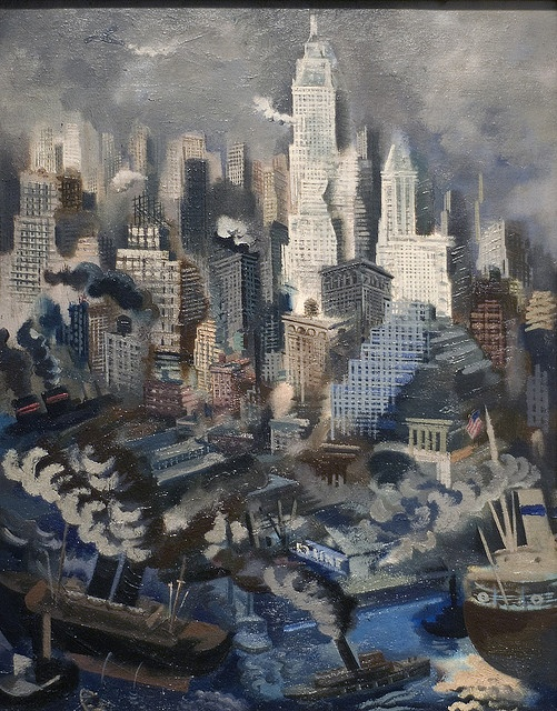 George Grosz- Lower Manhattan, c.1934  Discover the coolest shows in New York at www.artexperience...