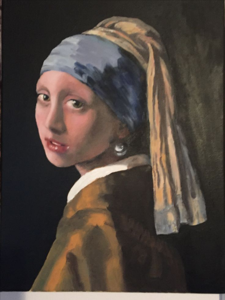 Vermeer master copy. Oil painting. Portrait study.