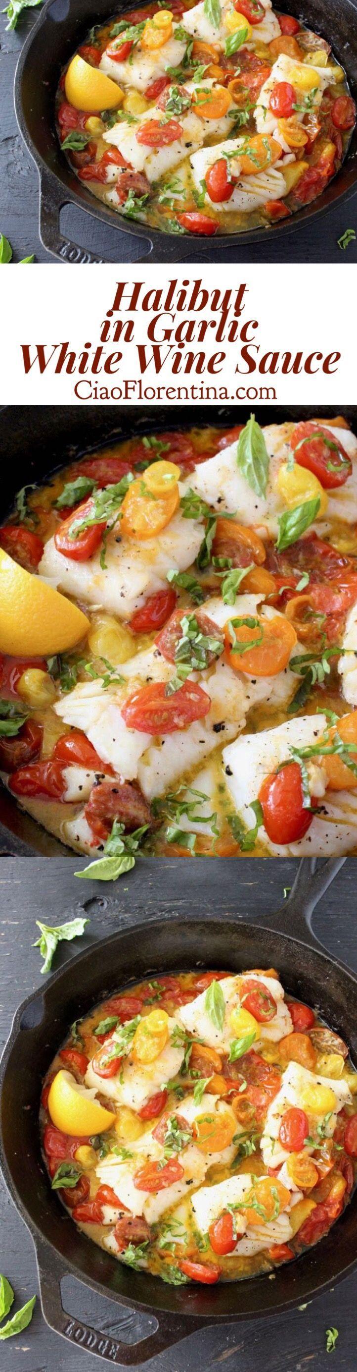 Pan Seared Halibut in Lemon Garlic White Wine Sauce Recipe | http://CiaoFlorentina.com @CiaoFlorentina