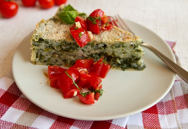 Something to try:  spinach & rice Torta Verde del Monferrato