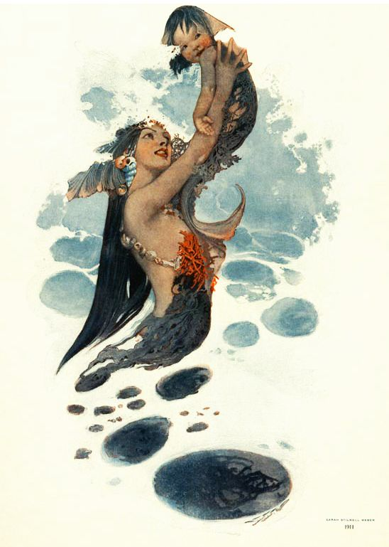 I like her orange coral top and the naturalness of this look. *Mermaid with merbaby~~1911 Collier's magazine cover