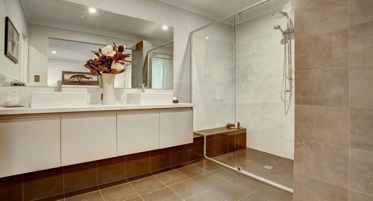 Master ensuite in the Pyrmont by Summit Homes. Discover more at https://www.summithomes.com.au/display-homes