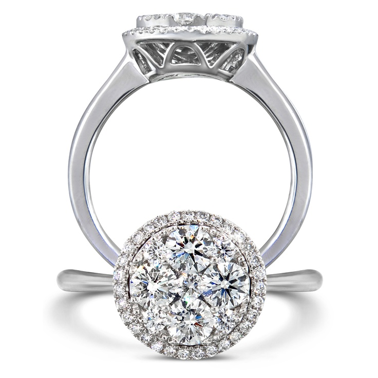 Beautiful invisible set diamond ring with approximately one carat of diamonds.
