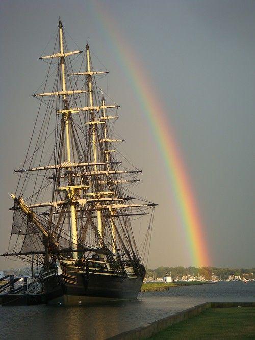Tall ship under the rainbow.
