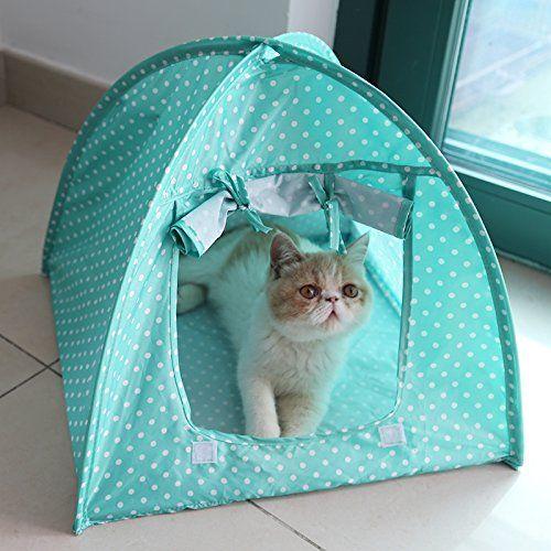 Doglemi Cute Polka dots Foldable Pet Cat Kitty Tent House Camp Water Resistant 3 colors (M:43*43*41CM, Green) EasyPetLife http://www.amazon.co.uk/dp/B01D9V7X1A/ref=cm_sw_r_pi_dp_fEVdxb0002GAC