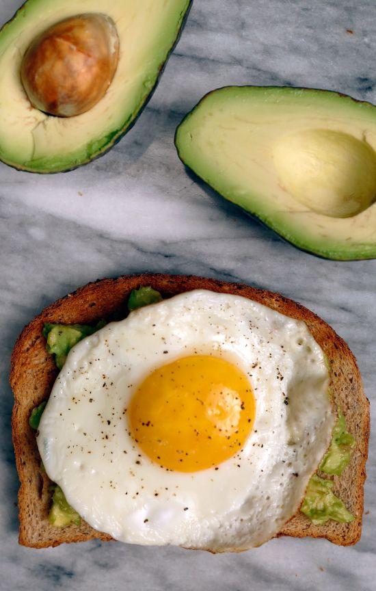 Avocado Toast With an Egg on Top: Avocado, Salt, Pepper, Fried Egg