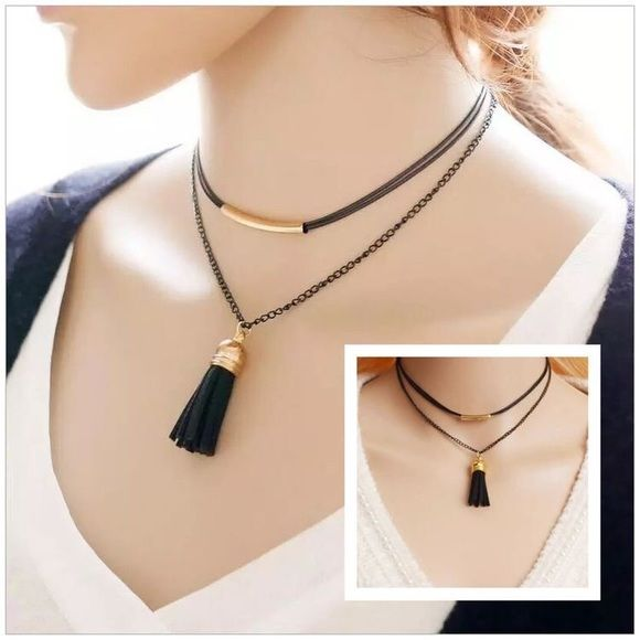 October Love Jewelry - Layered Tassel Choker Necklace