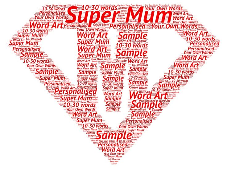 Super Mum   Personalised A4 Word Art Mother's day birthday christmas gift
