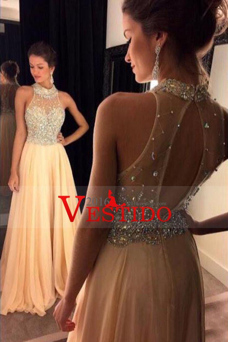 2016 Alto cuello vestidos de baile una línea de gasa con rebordear barrer de tren