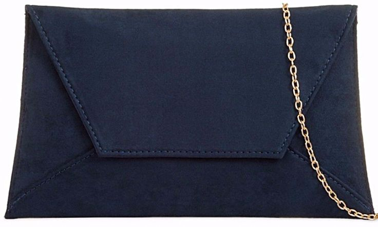 A navy blue slimline faux suede envelope style clutch bag shoulder bag The bag fastens with a flap over the top and a concealed metal magnetic stud