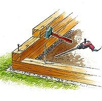 using landscaping timbers: really would love to make a flower bed on side of house