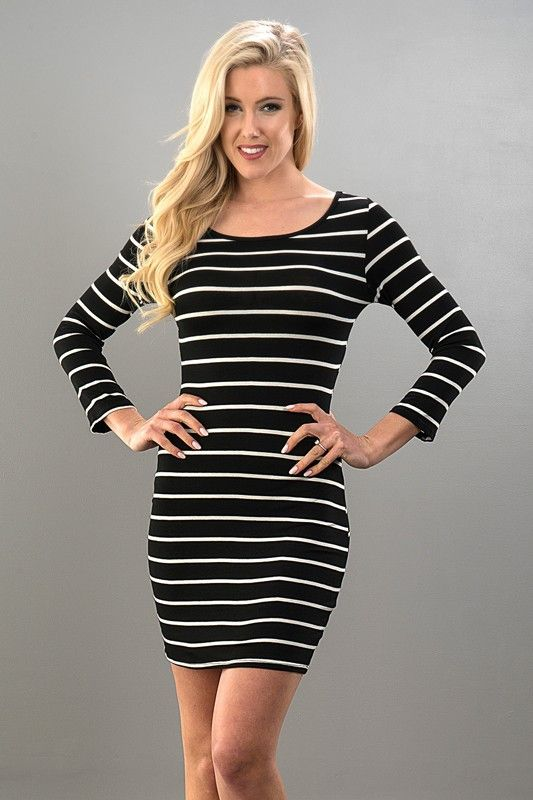 Black/White Stripe Bodycon Dress