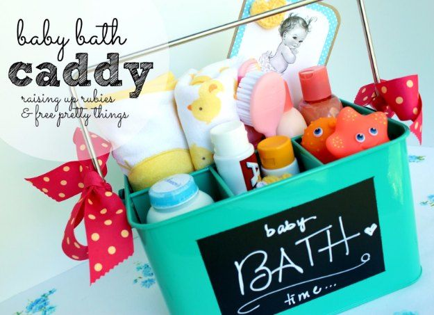 DIY Baby Gifts - Baby Bath Caddy - Homemade Baby Shower Presents and Creative, Cheap Gift Ideas for Boys and Girls - Unique Gifts for the Mom and Dad to Be - Blankets, Baskets, Burp Cloths and Easy No Sew Projects http://diyjoy.com/diy-baby-shower-gifts