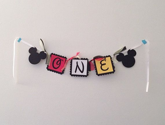 Mickey Mouse One High Chair Banner High Chair by HoneygoDesigns