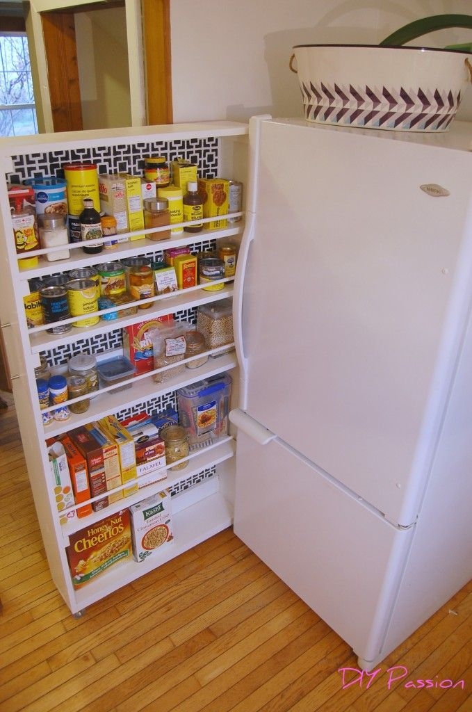 Small space storage solution diy rolling pantry tutorial for Pantry can storage diy