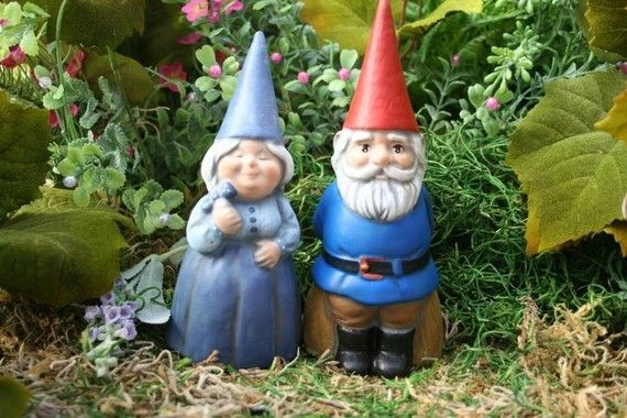 Gnome In Garden: These Gnomes Can Be Made With PINK Outfits. I Need Them