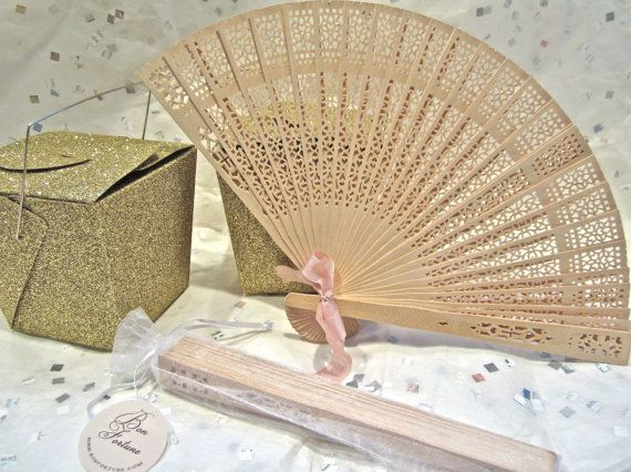 Natural Wood Fans Wedding Favors by BonFortune on Etsy