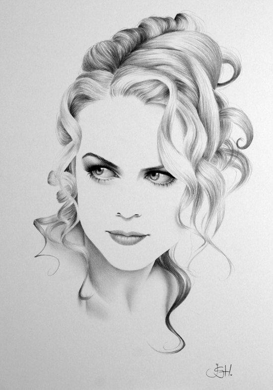 Nicole Kidman Minimalism Original Pencil Drawing Fine Art Portrait. Ileana Hunter.
