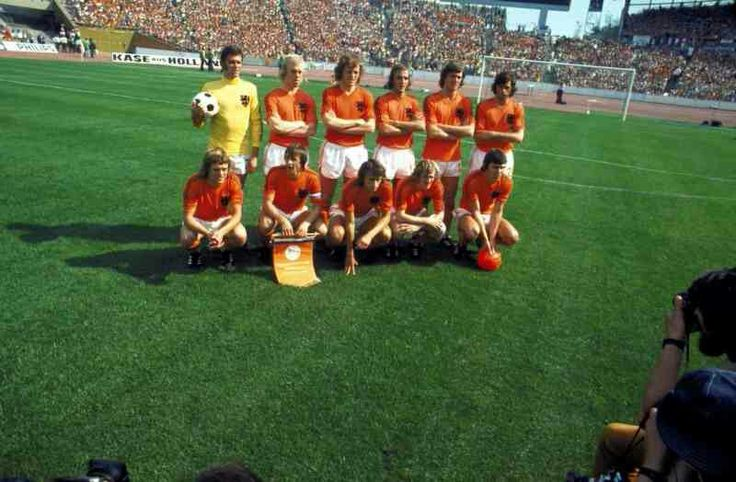 Holland team group in Gelsenkirchen at the 1974 World Cup Finals.