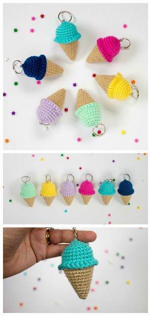 Free Crochet Keychain Pattern- Ice Cream Cone - The Friendly Red Fox, amigurumi, play food, #haken, gratis patroon (Engels), sleutelhanger, ijsje, ijshoorntje, voedsel, eten, #haakpatroon